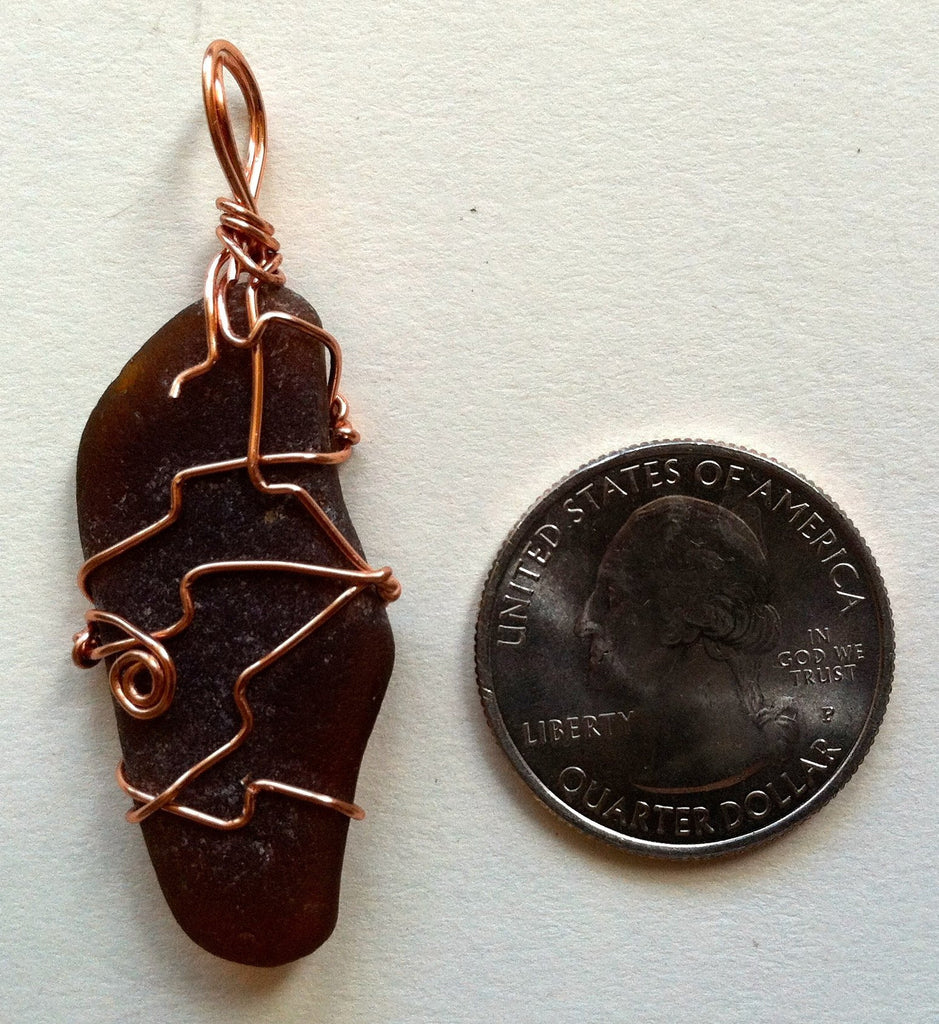 Wire-Wrapped Seaglass Pendant: Wandering Brown