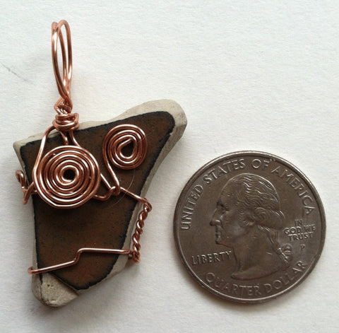 Wire-Wrapped Sea Pottery Pendant: Earthen Brown