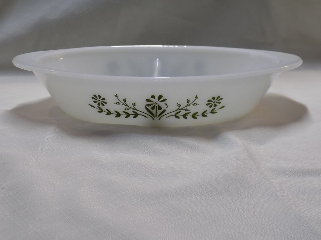 Vintage Glasbake Divided Casserole J2352 Green Daisy – Findings and ...
