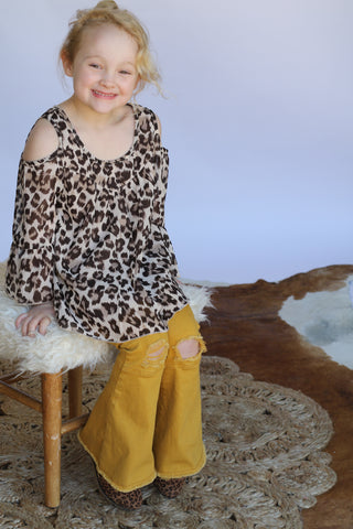 45552 Toddler Cheetah Cold Shoulder Top (4@$12) lbs