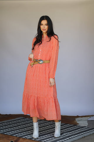 6211 Orange Dot Boho Dress (4@$21)