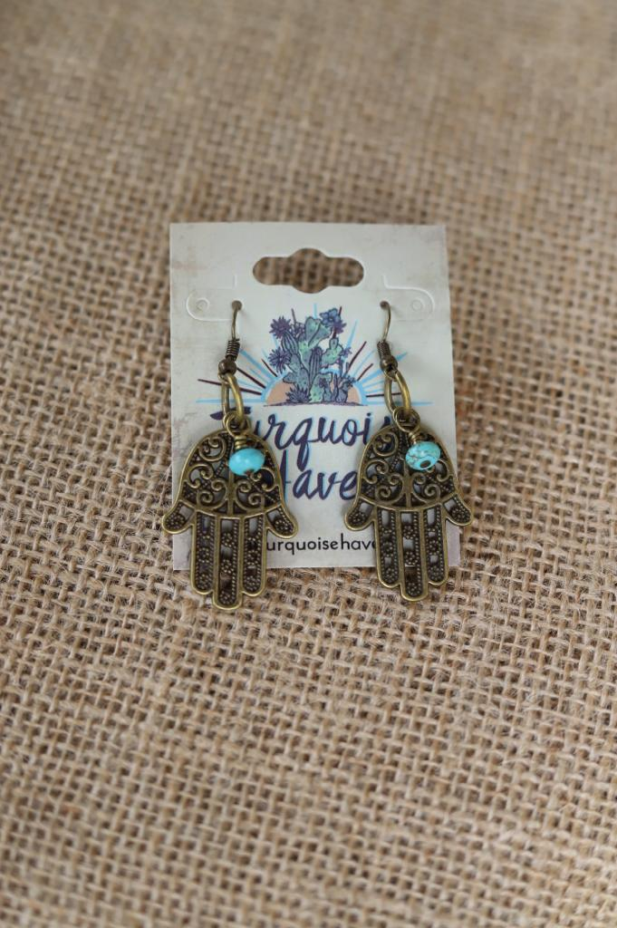 7198 Hamsa Hand and Turquoise Earring