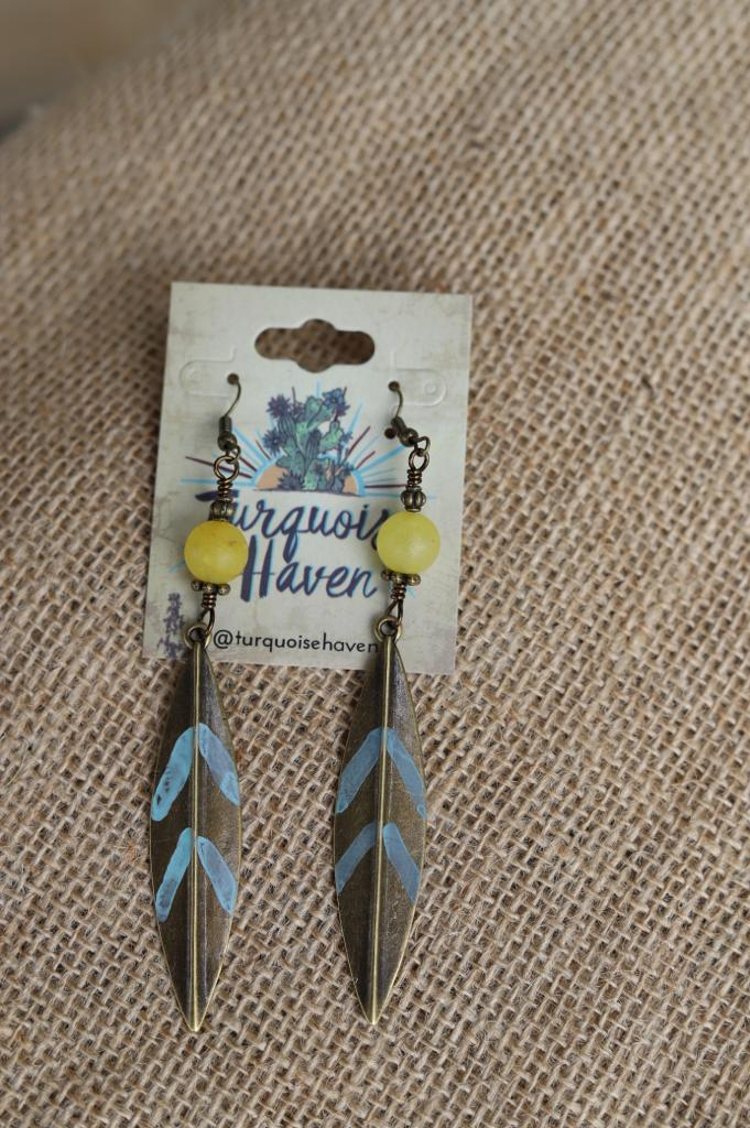 71912 Mustard Jade Painted Feather Earrings