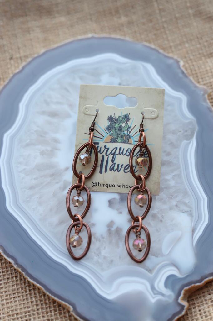 71922 Antique Copper Crystal Earrings