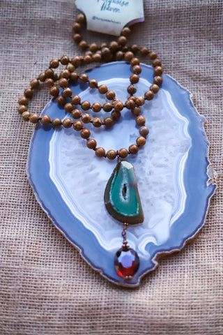 81913 Green Agate and Jasper Wood Necklace