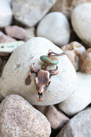 51931 Cow Skull and Green Stone Necklace