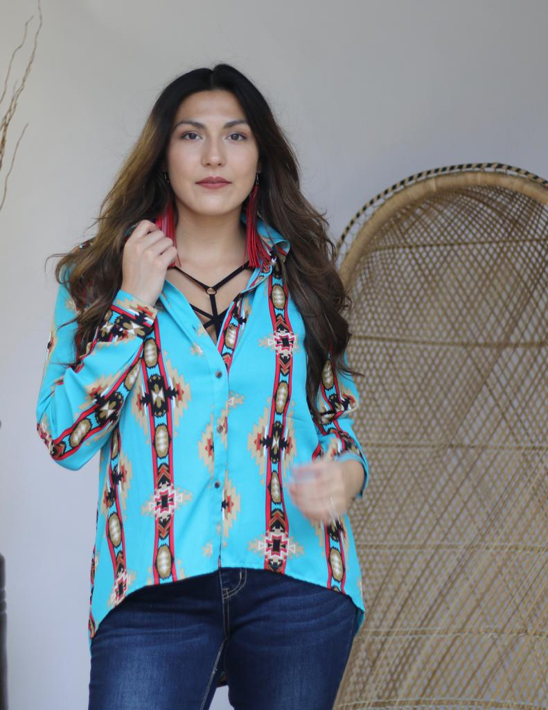Turquoise Aztec Open Back Chiffon Top(4@$16)