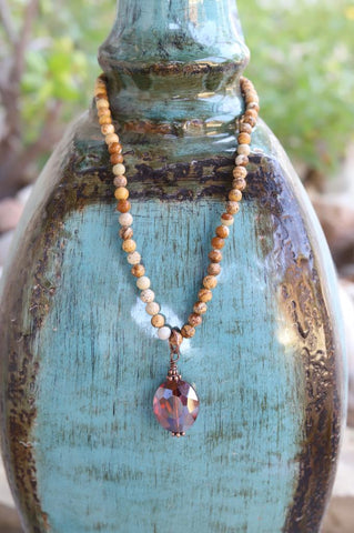 81951-N2 1Jasper Bead Necklace w/ Amber Crystal
