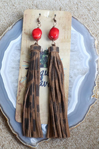 81935 Red Coral Cheetah Tassel Earrings
