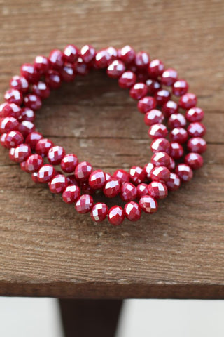 897 Red Tones Crystal Stretch Bracelet