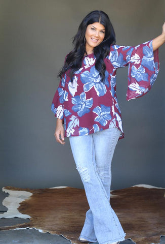 2747 Wine Navy Floral Bell Sleeve Chiffon Top (4@$13.75)