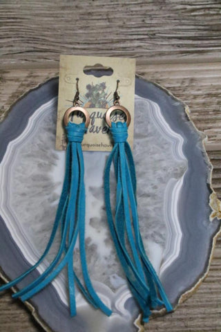 215 Turquoise Leather Earring