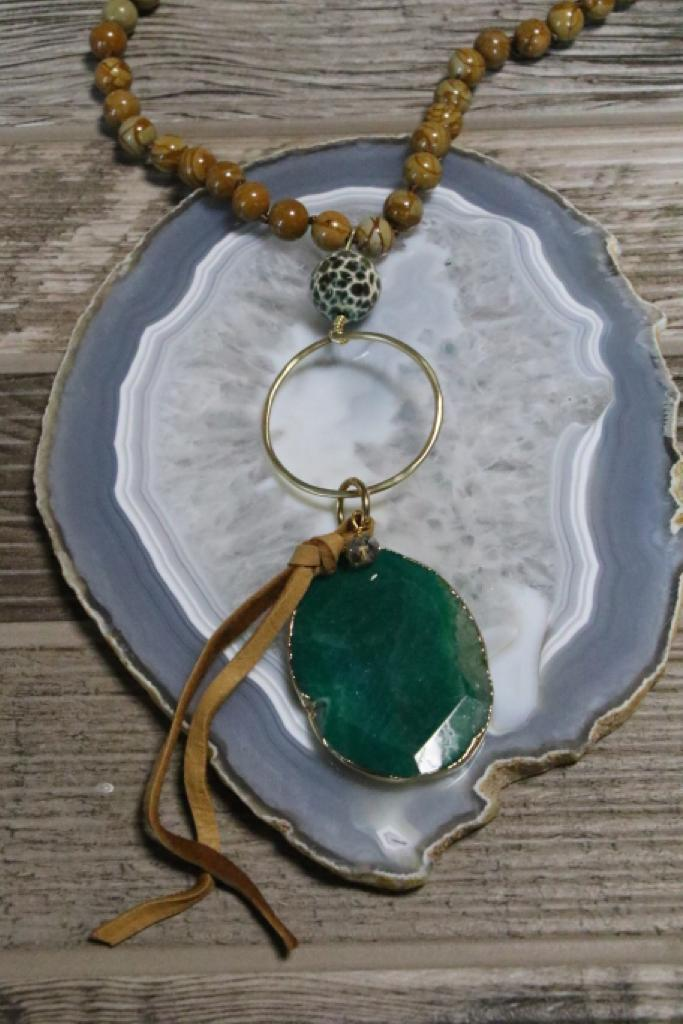 81941 Green Agate Wood Jasper Necklace