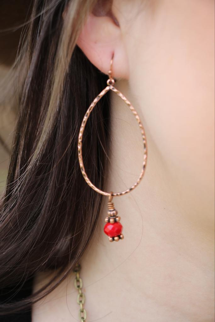 17197 Red and Gold Earring