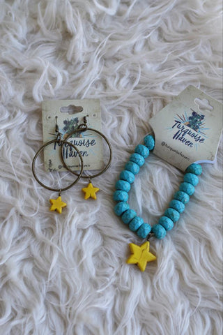 12044 Yellow Star Earring