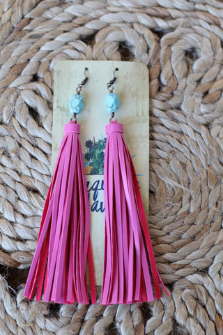 81936 Turquoise Stone Pink Tassel Earring