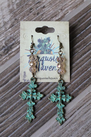32056 Patina Cross and Crystal Earring