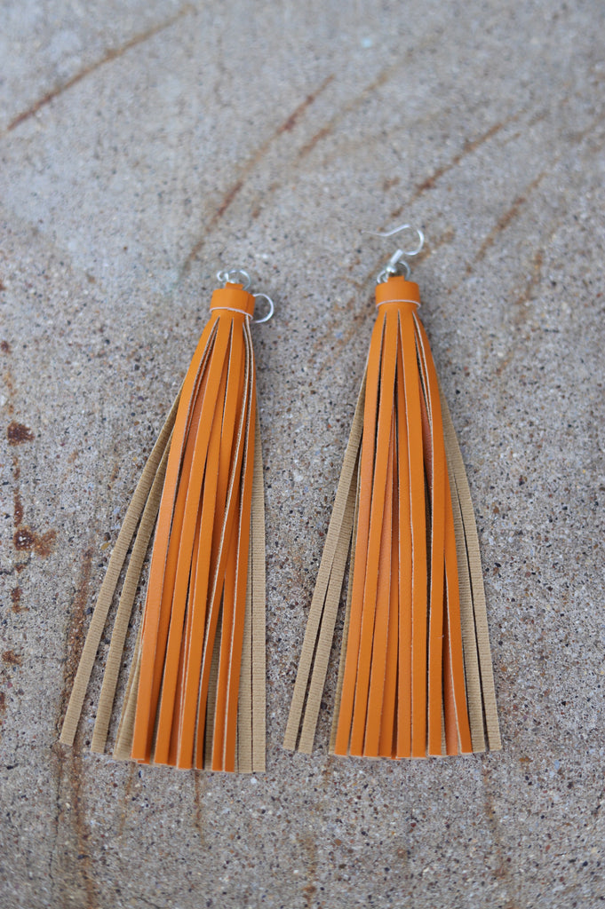 71839 Orange Tassel Fringe Earrings