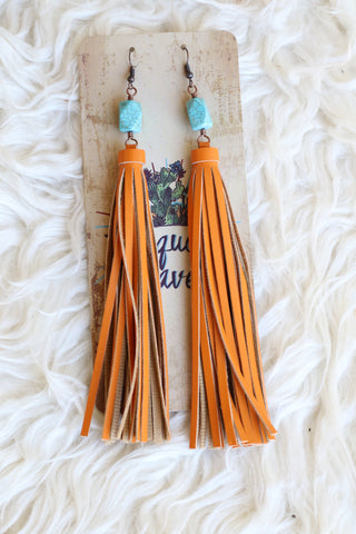 81936 Turquoise Stone Orange Tassel Earring