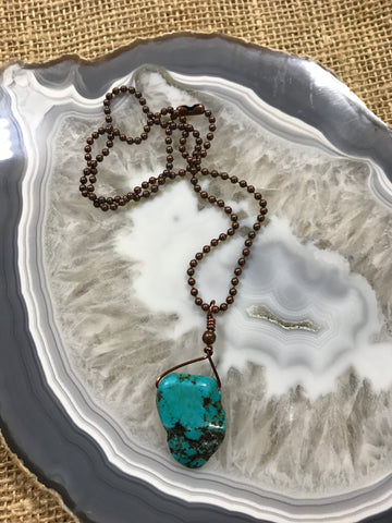 9185 Turquoise Tiny Slab Drop on 18inch Ball Chain