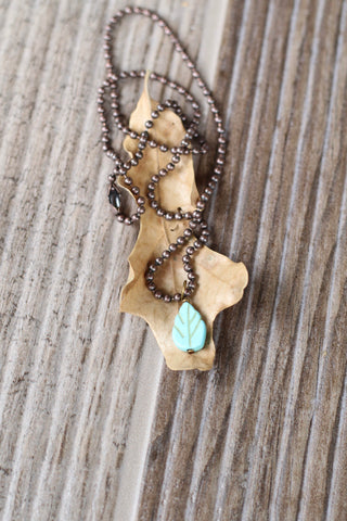 2561 TURQUOISE LEAF NECKLACE