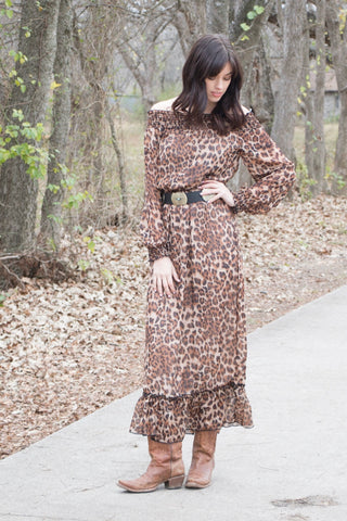 62225 Cheetah Chiffon Maxi Dress (3@$24.50)