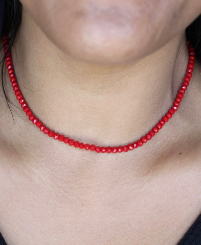 "101840C Red 1S 2mm 14"" Crystal Choker"