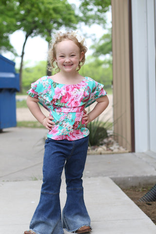 801 Toddler Turquoise Floral Ruffle Top (6@$12.75)