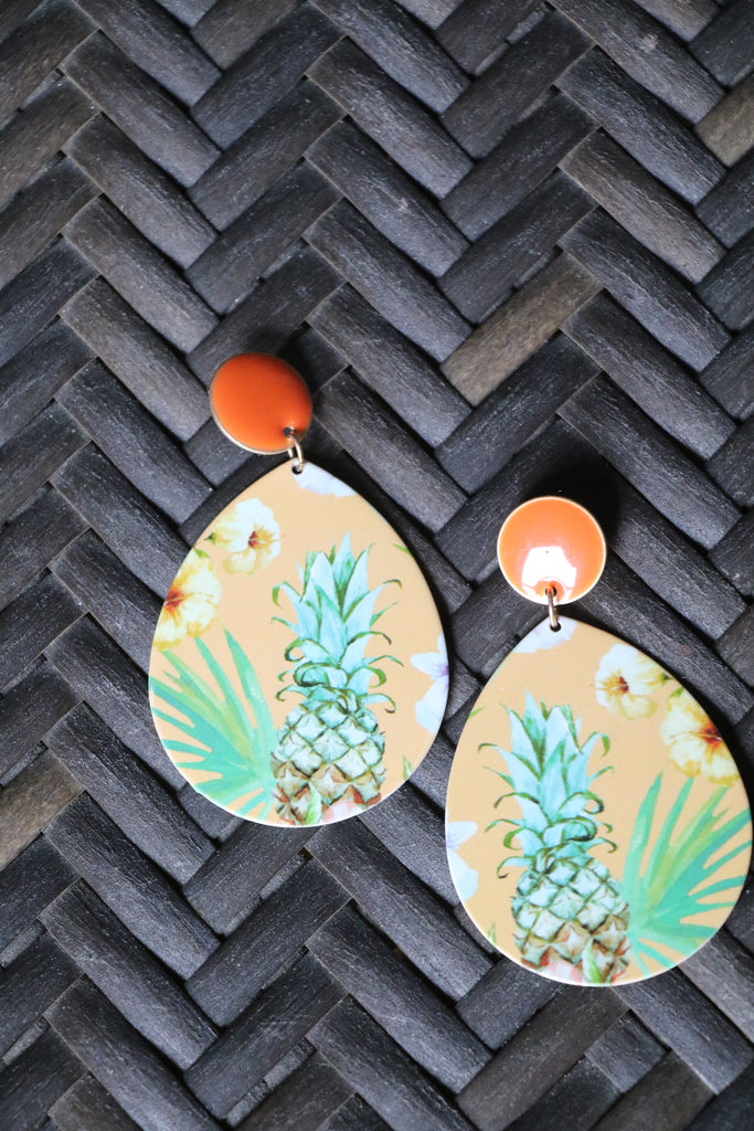 7192 Pineapple Metal Printed Earring