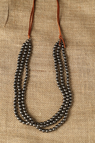 101839 Silver Beaded Nl on Leather