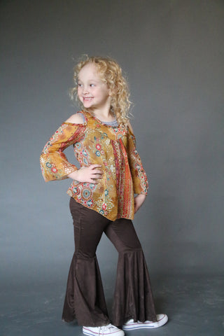 45552 Toddler Mustard Boho  Cold Shoulder Top(4@$12)