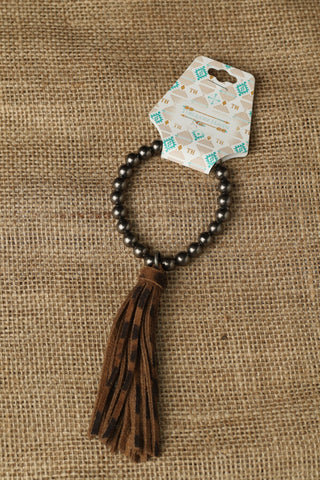81849 Silver with Cheetah Tassel Bracelets