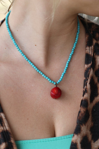 "121810 14"" 2mm Turquoise  NL w/ Red Coral Charm"