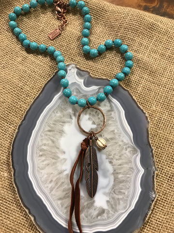 9186 Ring Drop Pendant with Feather