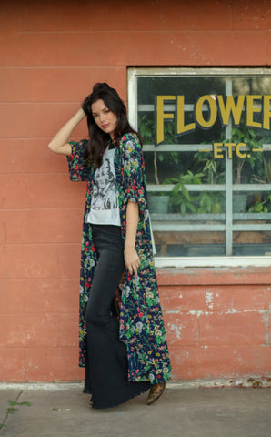 1420 Navy w Green Floral Duster (4@$14)