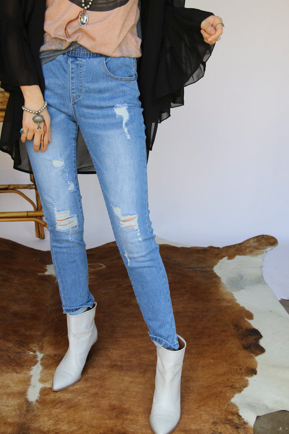 8015 LIGHT DENIM Skinny Jeans w/ Smock Waist SINGLES