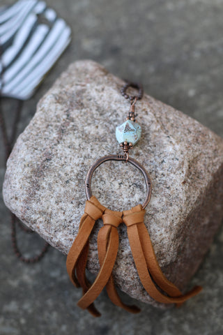 21955 Blue Jasper Ring Leather Necklace