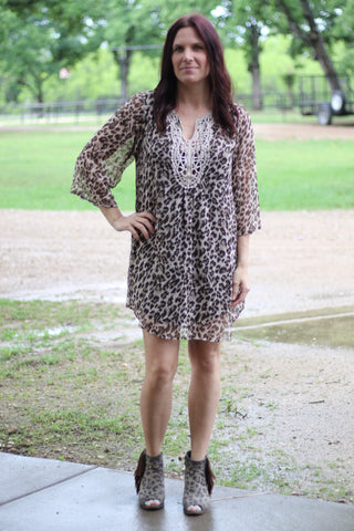 4459  Cheetah Dress w Crochet Detail (4@$10)