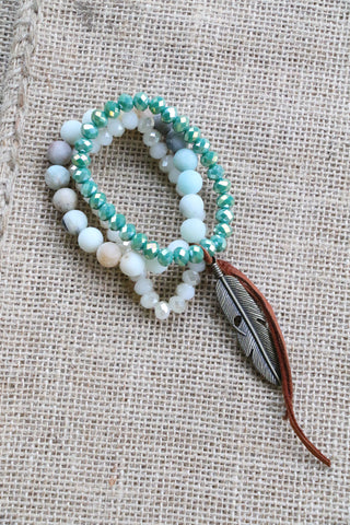 41914 3s Aqua, Ice Amazonite Mix Bracelet