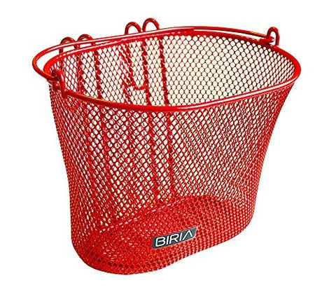 Basket With Hooks RED, Front , Removable, Wire Mesh SMALL Bicycle Basket , RED