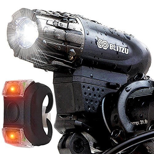 Blitzu Gator 320 USB Rechargeable Bike Light Set POWERFUL Lumens Bicycle Headlight, FREE TAIL LIGHT, LED Water Resistant Front Light, Easy To Install For Kids Men Women Cycling Safety Flashlight