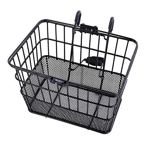 Ohuhu Rust-Proof Quick Release Front Handlebar Bicycle Lift Off Basket / Wire Mesh Bike Basket With Holder, Mesh Bottom