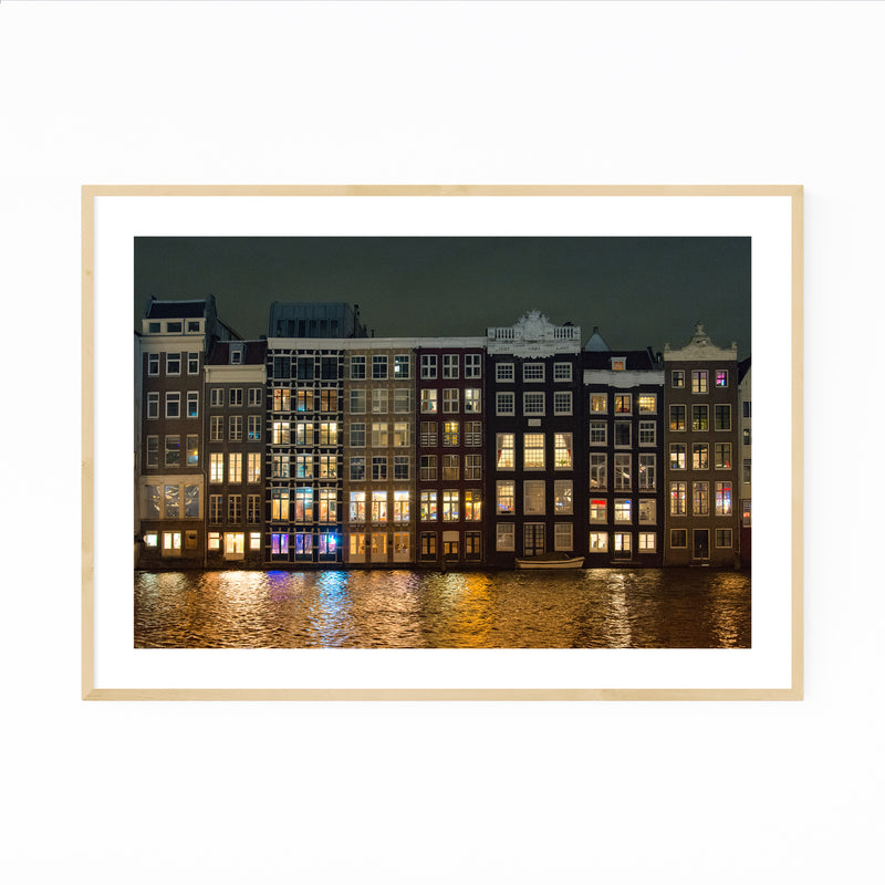 Amsterdam Canal Houses Lights Framed Art Print