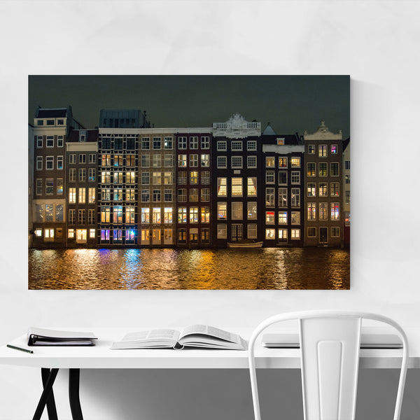 Amsterdam Canal Houses Lights Art Print