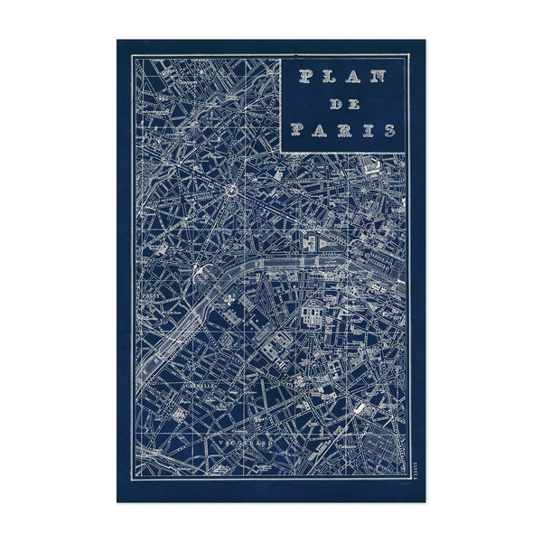Paris France Maps Retro Map Art Print