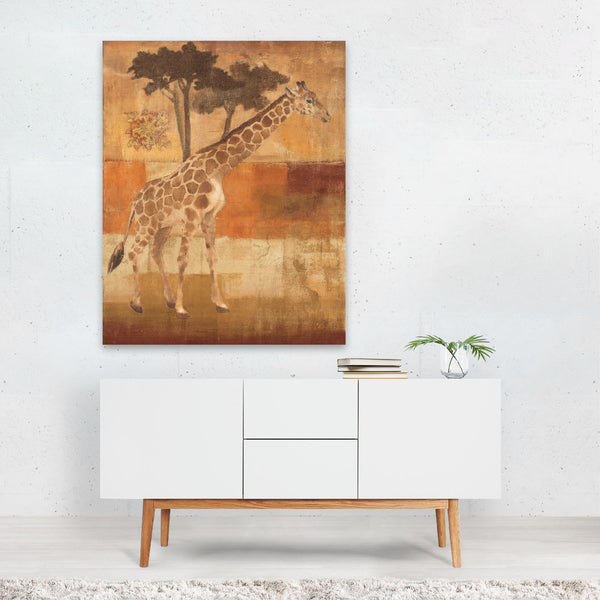 Oranges Fruit Giraffe Illustration Art Print