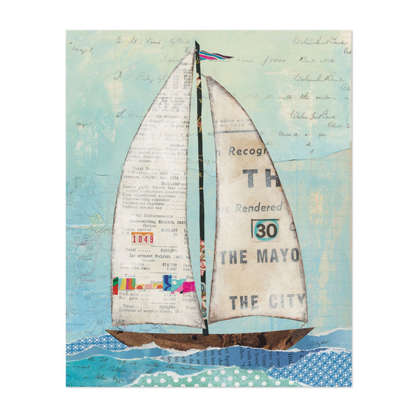 Beach Sailboat Nautical Boats Collage Art Print