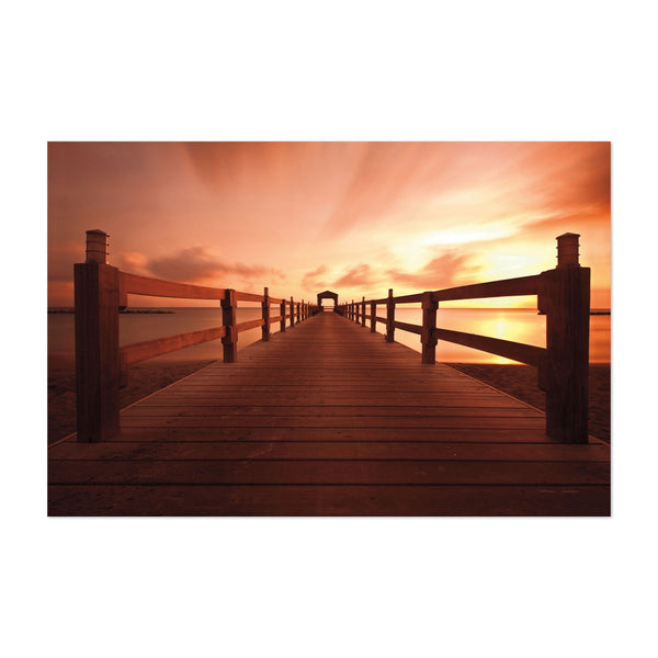 Beach Pier Clouds Transportation Art Print
