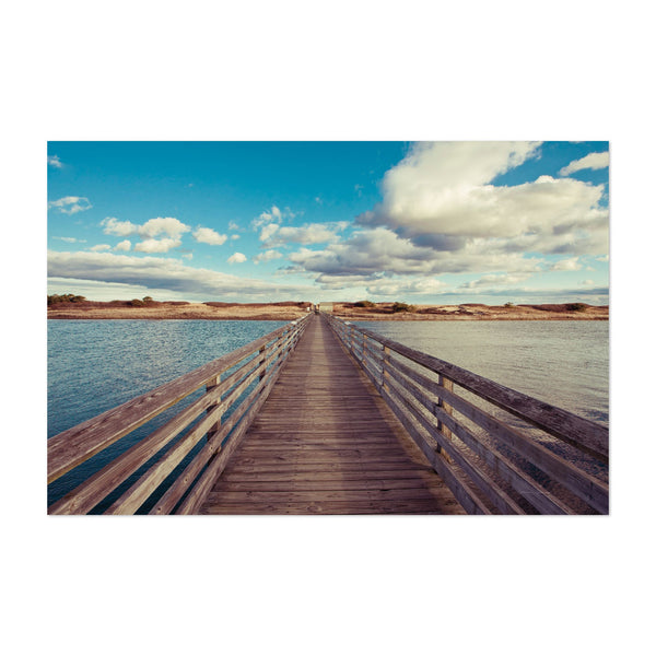Beach Pier Clouds Boardwalks Photo Art Print