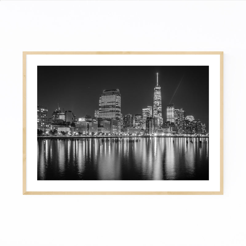 Black White New York Skyline NYC Framed Art Print